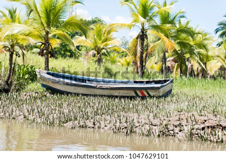 small boat parked in a small canal at the mangrove forest.Costa Rica Stock photo © Lopolo