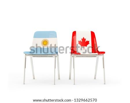 два стульев флагами Канада Аргентина изолированный Сток-фото © MikhailMishchenko