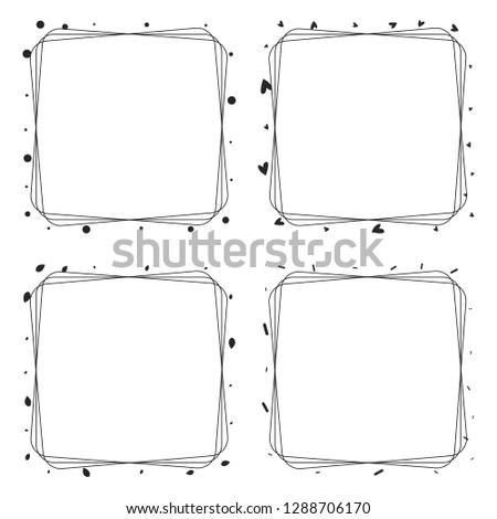set of elegant line frame with hearts, circle and memphis elemen Stock photo © SArts