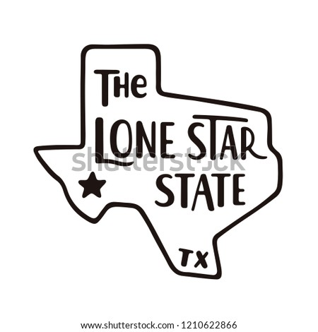 Vintage hand drawn Texas badge state badge, United States. Silhouette style icon, logo. Featuring mo Stock photo © JeksonGraphics