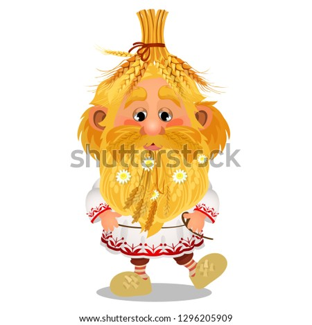 Animated brownie with a cap of ripe wheat ears, chamomile flowers in the beard isolated on white bac Stock photo © Lady-Luck