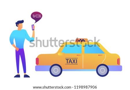 Işadamı taksi hareketli uygulaması yalıtılmış beyaz Stok fotoğraf © RAStudio