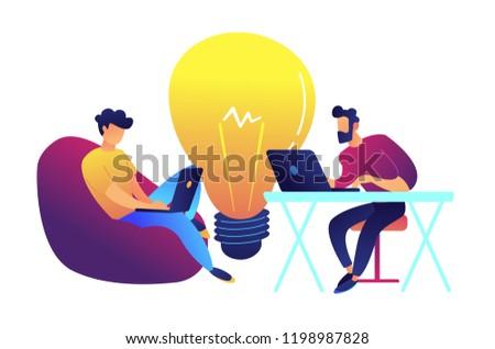 Kettő dolgozik laptop nagy villanykörte keres Stock fotó © RAStudio
