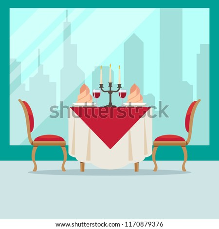served table in restaurant in flat style cafe soft chairs wine napkins candlestick and city back stock photo © marysan