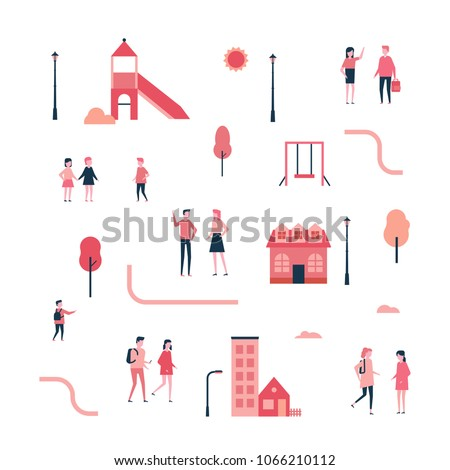children on the playground   flat design style colorful illustration stock photo © decorwithme