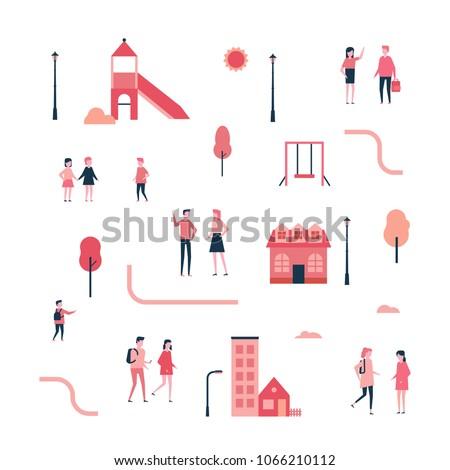 Photo stock: Enfants · aire · de · jeux · design · style · coloré · illustration