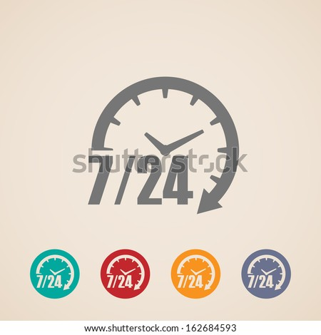 24 hours 7 days icon. Time clock icon vector illustration. Vector illustration isolated on white bac Stock photo © kyryloff