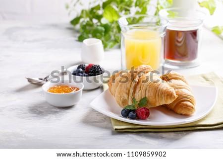 tradicional · francés · desayuno · mesa · manana - foto stock © boggy