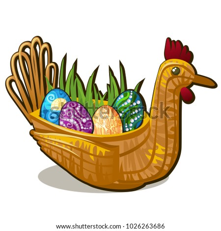 Wicker basket form of chicken bird with set of colorful eastern eggs inlaid with precious stones iso Stock photo © Lady-Luck