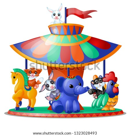 Cute funny animated animals ride the carousel isolated on white background. Merry-go-round. Vector c Stock photo © Lady-Luck