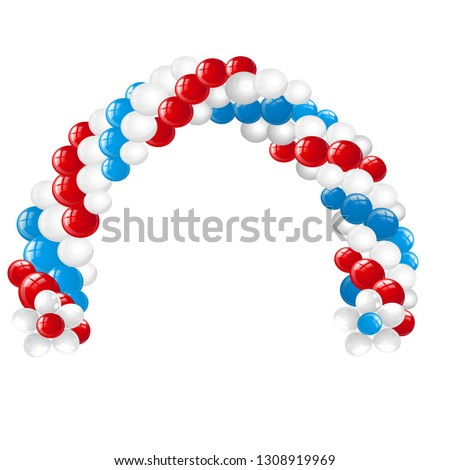 Arc made of white, red, blue balloons isolated on white background. Vector cartoon close-up illustra Stock photo © Lady-Luck