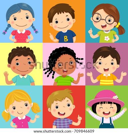 asian boy avatar set kid vector kindergarten face emotions emotional facial people childish k stock photo © pikepicture