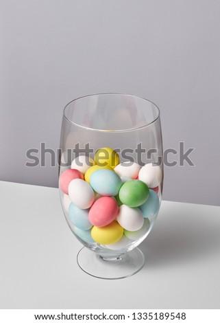 Glas vaas klein geschilderd eieren grijs Stockfoto © artjazz