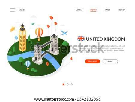 visit the united kingdom   modern colorful isometric web banner stock photo © decorwithme