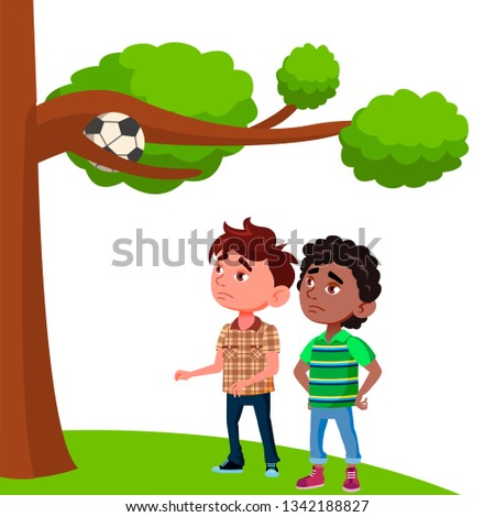 Stock photo: Frustrated Kids Look At The Ball Stuck In The Branches Of Tree Vector Flat Cartoon Illustration