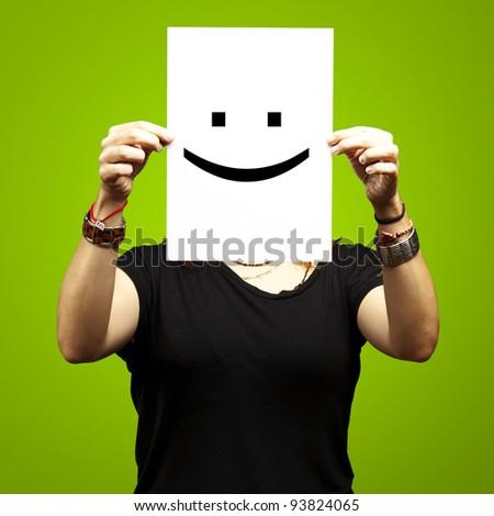 Person halten Papier funny Emoticon Gesicht Stock foto © ra2studio