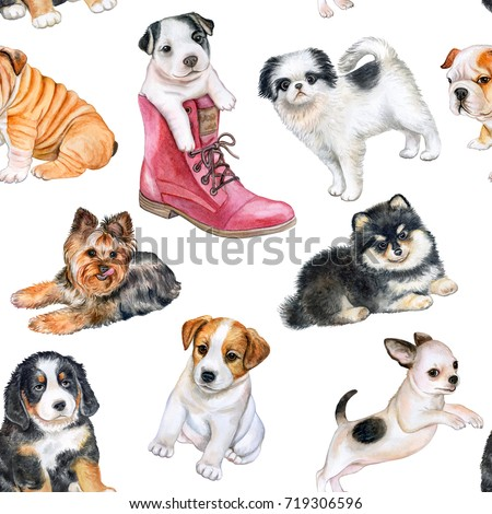 Watercolor seamless pattern of bulldog and jack russell terrier. Pet, puppy background. Animal wallp Stock photo © Natalia_1947