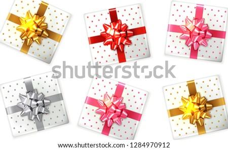 Geschenkdoos ingesteld vector realistisch product plaatsing Stockfoto © frimufilms