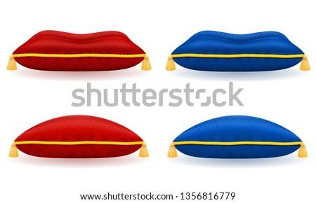 Kırmızı mavi saten yastık altın halat Stok fotoğraf © konturvid
