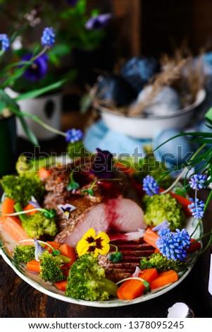 Turkey Breast Ham on the spring Easter background .style rustic. Stock photo © zoryanchik