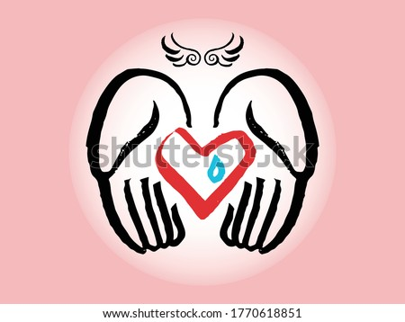 Stock photo: Heale broken heart vector icon. Symbol, logo illustration. Vector illustration isolated on white bac