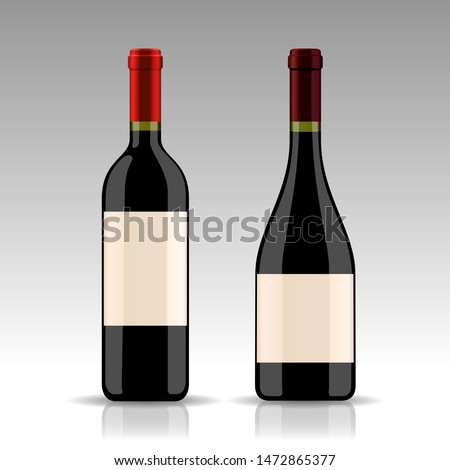 Bottle of red wine and empty glass with dark grapes with corks and opener inside vintage wooden box  stock photo © DenisMArt