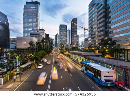 City traffic - downtown cityscape with public transport, megapol Stock photo © Winner