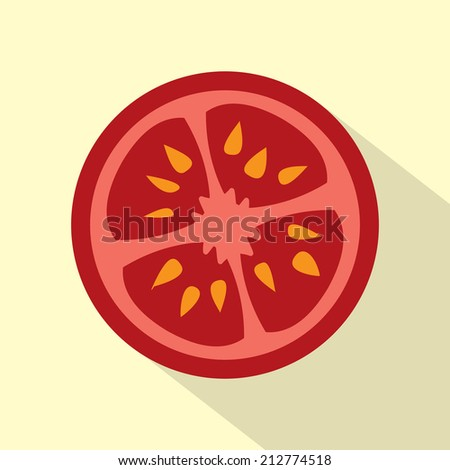 Vector Fresh red tomato slice icon with shadows and highlights Stock photo © MarySan