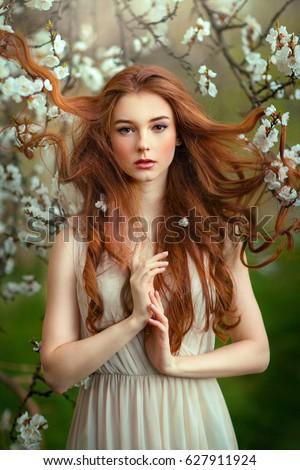 春 · 美しい · ロマンチックな · 赤 · 少女 · 白 - ストックフォト © ElenaBatkova