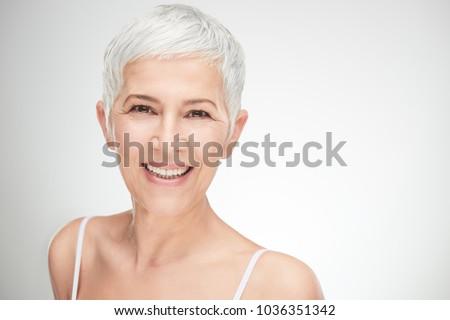счастливым старший женщины короткий белые волосы глядя Сток-фото © pressmaster