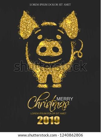 блеск свинья икона Новый год карт Сток-фото © frimufilms