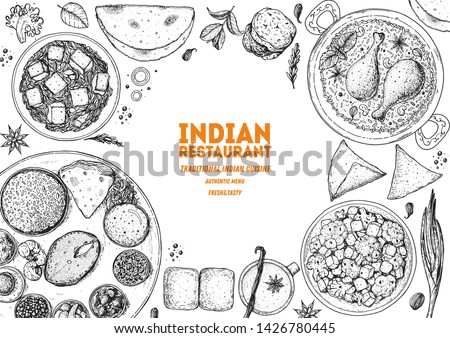 India hand drawn vector doodles illustration. Indian frame card design. Stock photo © balabolka