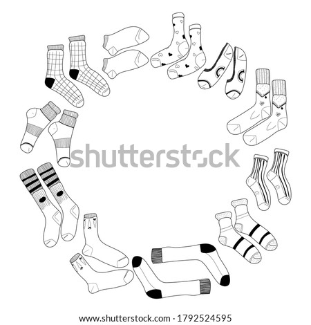Winter Sports hand drawn vector round doodles illustration. Ski resort poster Stock photo © balabolka