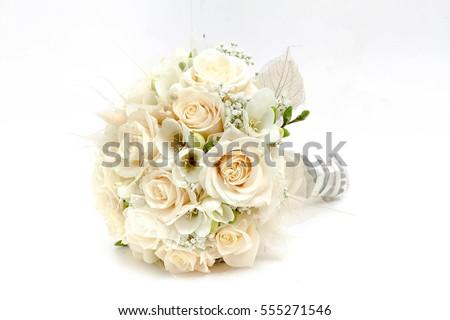 buquê · de · casamento · branco · rosa · rosas · recém-casado · casal - foto stock © ruslanshramko