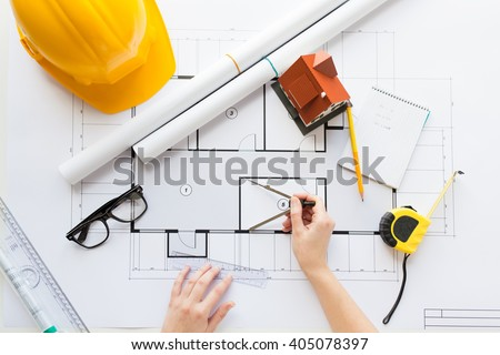 image of engineer or architectural project close up of architec stock photo © freedomz