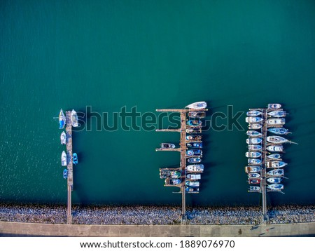 Drone panoramic view directly from above moored yachts in the  C Stock photo © amok