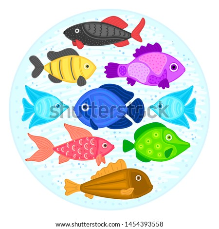 Vector colorful cartoon fish in circular shape. Undersea world. Aquarium. Cute marine life. Pisces Stock photo © user_10144511