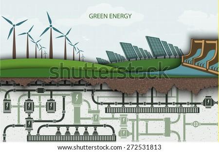 Infografiki energii ze źródeł odnawialnych zielone gospodarki sylwetka Zdjęcia stock © ConceptCafe