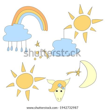 Cute wektora zestaw deszczowy chmury dzieci Zdjęcia stock © Pravokrugulnik