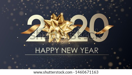 Multicolored numbers 2020 and happy New Year greetings on purple Stock photo © ussr
