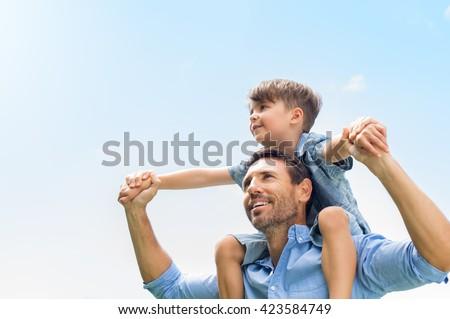 Portré boldog apa fiú háton vállak Stock fotó © Lopolo
