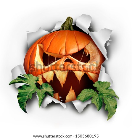 scary spooky halloween. Ripping a pumpkin background 3d-illustra Stock photo © Wetzkaz