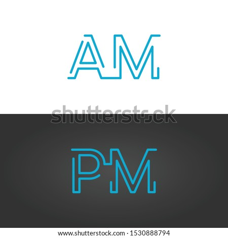Linear geometric outline am and pm text , 24 hours service, anytime concept, clock or alarm typograp Stock photo © kyryloff