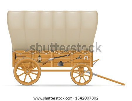 wooden wagon of the wild west with an awning vector illustration Stock photo © konturvid