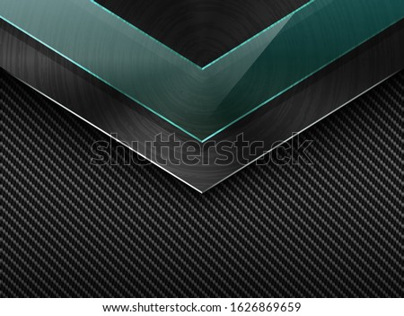 Vector black carbon fiber background with corner brushed metal plate and green transparent glass Stock photo © Iaroslava