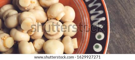 Szalag marinált dobozos gombák champignon barna Stock fotó © Illia