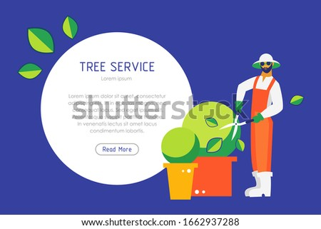 Gardening shears. Icon on a green circle. Tool vector illustration Stock photo © Imaagio