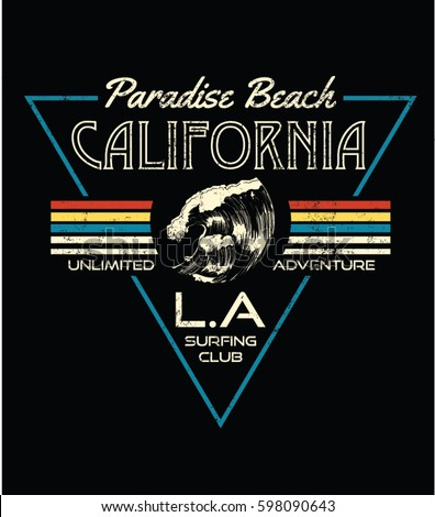 Surfing t-shirt graphic design. Surf lettering California. Vector Stock photo © Andrei_