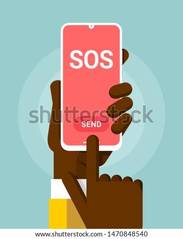 Okostelefon vázlat emberi kéz sos üzenet rózsaszín Stock fotó © karetniy