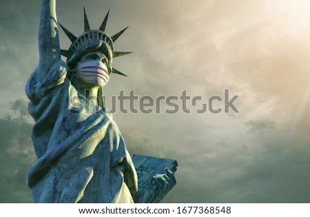 Covid-19. Coronavirus Outbreak in USA Design with Virus, Blood Cell and National Flag on Dark Backgr Stock photo © articular